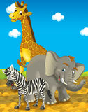 Сафари шаржа - иллюстрация для детей Стоковая Фотография