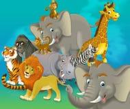 Сафари шаржа - иллюстрация для детей Стоковая Фотография RF
