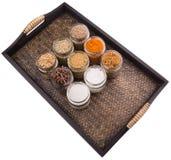 Сахар и специи в плетеном подносе II стоковое изображение