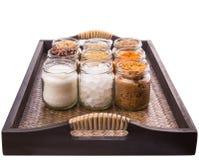 Сахар и специи в плетеном подносе III стоковая фотография rf