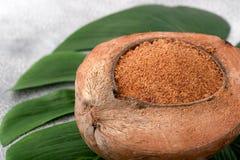Сахар кокоса с зеленым разрешением на белой предпосылке Низкое гликемическое Стоковое Фото