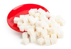 Сахар на красной плите стоковая фотография rf