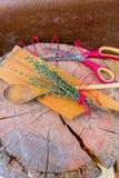 сад ароматичной предпосылки свежий сжал rosemary петрушки мяты трав травы тимиан старого мудрый деревянный Тимиан, розмариновое м Стоковое Фото