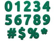 Салатовые цифры и символы меха на белой предпосылке Изолированная цифровая иллюстрация перевод 3d Стоковая Фотография RF