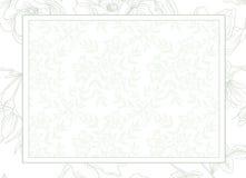 Салатовый шаблон карточки приглашения свадьбы предпосылки цветка Стоковое Фото