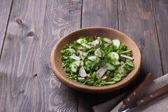 Салат витамина одичалых трав с огурцом, редиской и зелеными луками Стоковая Фотография RF