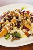 Салат жареной курицы с смешанными зелеными цветами стоковая фотография