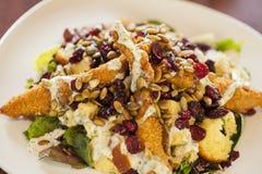 Салат жареной курицы с смешанными зелеными цветами стоковые изображения