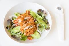 Салат жареной курицы с томатами, огурцом и луком стоковая фотография rf