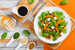 Салат зажаренной тыквы, мини моццареллы и шпината Стоковое Фото