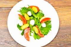 Салат зеленых салата, томата, Bruschetta и моццареллы Стоковое Изображение