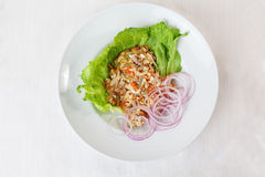 Салат из курицы, замаринованный огурец и морковь на серии меню верхней части поддонника красного лука салата круглой Стоковое Изображение