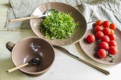 Салат кресс-салата ингридиентов с томатами вишни Стоковые Изображения