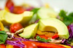Салат крупного плана свежий красочный с фиолетовыми Коул, авокадоом и томатом смешал совместно Стоковые Фотографии RF