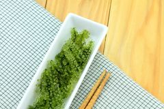 Салат морской водоросли, здоровый продукт моря в блюде Стоковое фото RF