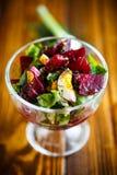 Салат от кипеть свеклы с яичками и свежими овощами Стоковая Фотография