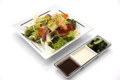 Салат от свежих листьев капусты, капусты цвета, морковей, луков на плите фарфора с соевым соусом и солениь Стоковое Изображение