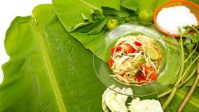 Салат папапайи внутри с свежим овощем и лапшой Стоковые Изображения RF