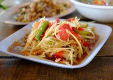 Салат папапайи, еда Somtum тайская Стоковое Изображение RF