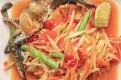 Салат папапайи крупного плана тайской еды, SOMTUM Стоковое Изображение