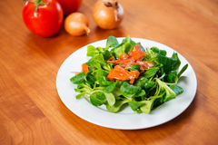 Салат поля с морковью, томатом и луком Стоковые Фото