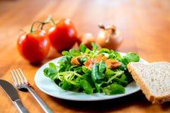 Салат поля с морковью, томатом, луком и хлебом Стоковые Фотографии RF