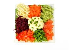 Салат различных овощей видов с сметаной Стоковые Изображения