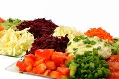 Салат различных овощей видов с сметаной Стоковые Изображения RF