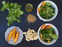 Салат салата овечки в белых блюдах и своих ингридиентах Стоковое Изображение RF