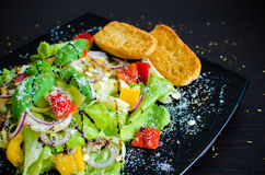Салат свежего овоща с хлебом Стоковая Фотография RF