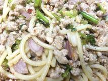 Салат свинины спагетти пряный miniced Стоковые Изображения RF