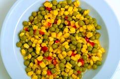 Салат с зелеными горохами, мозолью и красным перцем Стоковые Фото