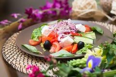 Салат с свежим сыром томата, оливкой, редиской аппетитно Здорово стоковые фото