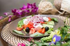 Салат с свежим сыром томата, оливкой, редиской аппетитно Здорово стоковое фото