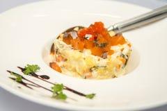 Салат с семгами на плите Стоковые Фотографии RF
