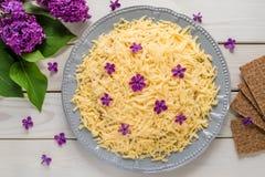 Салат с сыром и цветками Стоковое Фото