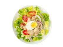 Салат тунца на белом wiew верхней части плиты Стоковое Фото