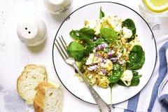 Салат цветной капусты с шпинатом младенца, грецкими орехами и красным луком верхняя часть VI Стоковая Фотография RF