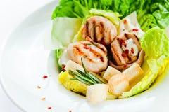 салат цезаря зажженный цыпленком Стоковые Изображения