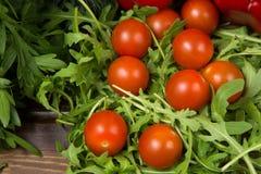 Салат Arugula с томатами Стоковые Изображения RF