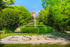 Сад замка Carrarese итальянский в зоне холмов городка Este euganean стоковая фотография rf