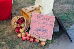 сад корзины яблок здоровый органический Стоковая Фотография