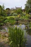 Сад коттеджа Cotswold с прудом живой природы, Англией Стоковые Фото