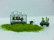 Садовничать: Миниатюрные парник, стенд и тачка Стоковые Изображения