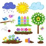 Садовничая комплект значка весны милый также вектор иллюстрации притяжки corel Стоковые Фотографии RF