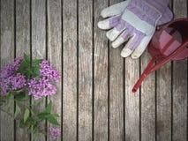 Садовничая предпосылка с цветками, перчатками и моча чонсервной банкой Стоковое Фото