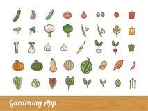Садовничая установленные значки app Стоковое Фото