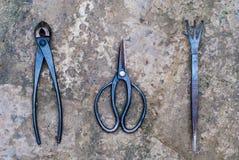 Садовые инструменты на грубой текстуре Стоковые Фотографии RF