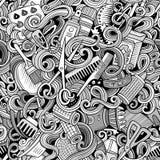 Салона парикмахерских услуг doodles шаржа картина милого безшовная Стоковое фото RF