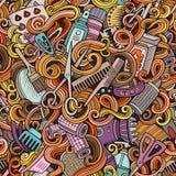 Салона парикмахерских услуг doodles шаржа картина милого безшовная Стоковое Изображение